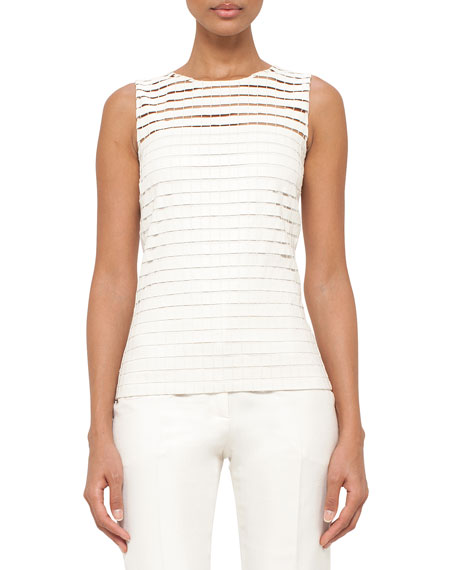 Akris Sleeveless Faux-Leather Grid-Front Top, Pelican