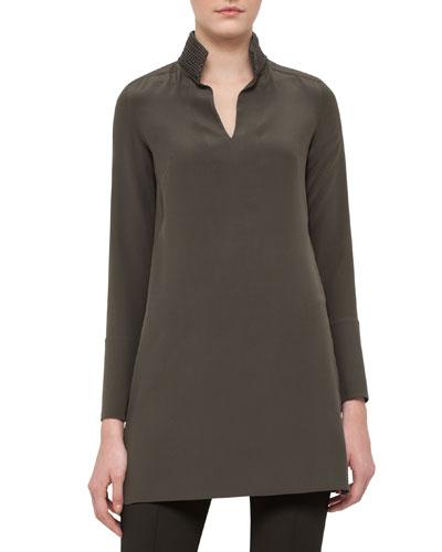 Leather-Trim Silk Shantung Tunic, Turtle