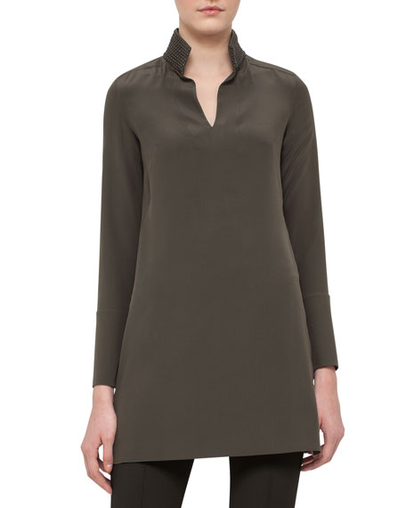 Akris Leather-Trim Silk Shantung Tunic, Turtle