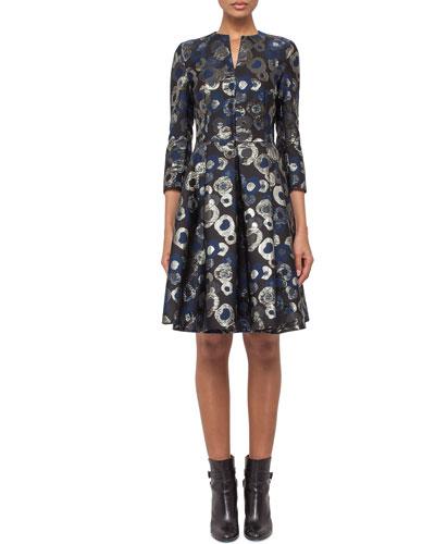 3/4-Sleeve Split-Neck Metallic Coat Dress, Blue Jay