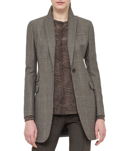 One-Button Check Long Jacket, Turtle