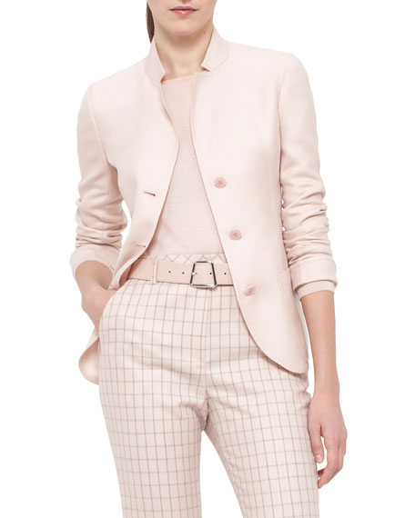 Akris Single-Breasted Mock-Neck Jacket, Flamingo