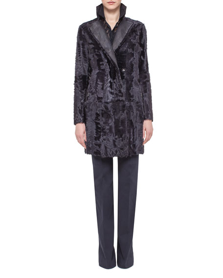 Akris Reversible Shearling Fur Coat, Starling