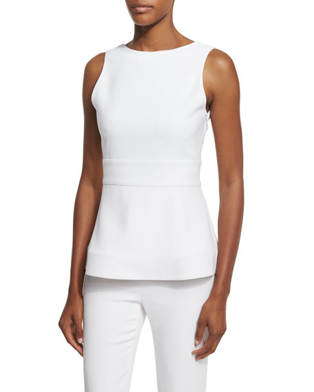 Cushnie Et Ochs Sleeveless Scoop-Back Peplum Top, Soft
