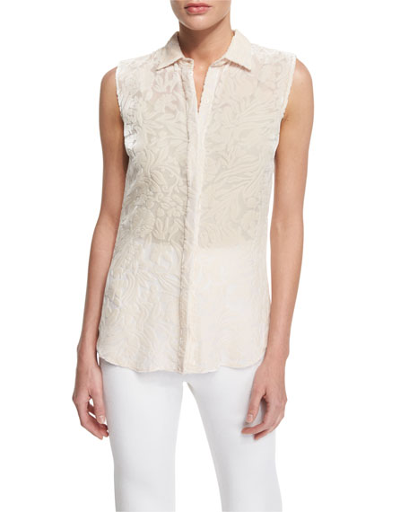 Devore Sleeveless Button-Front Floral Top, Blush