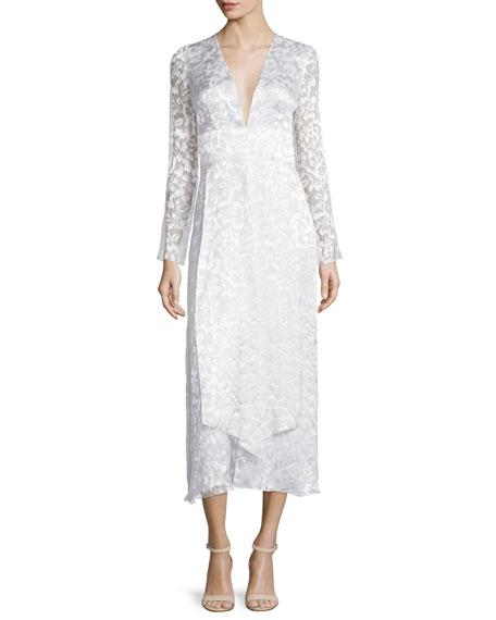 Cushnie et OchsLong-Sleeve Plunging-Neck Midi Dress, Soft White