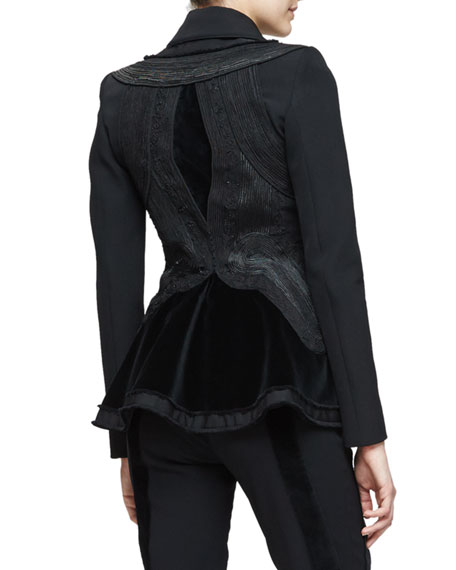 Rome Two-Button Peplum Jacket, Black