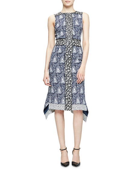 Altuzarra Cassandra Sleeveless Mixed-Print Dress, Navy