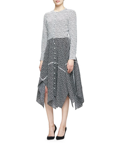 Priscilla Long-Sleeve Foulard-Print Dress, Natural White/Black