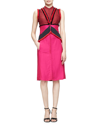 Kizzie Colorblock Dress W/Fringe Trim, Burgundy
