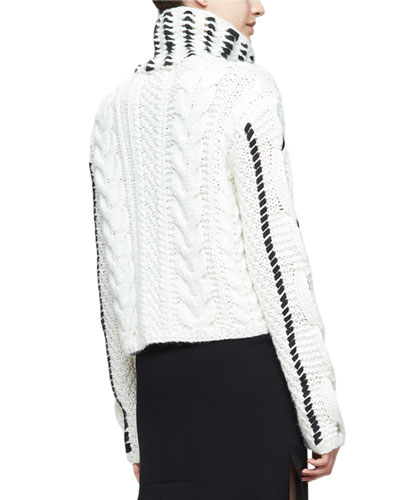 Caravan Leather-&-Lace Stitched Sweater, Cream