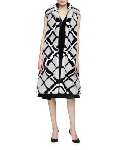 Abstract-Print Long Mink Fur Vest, Quartz/Black