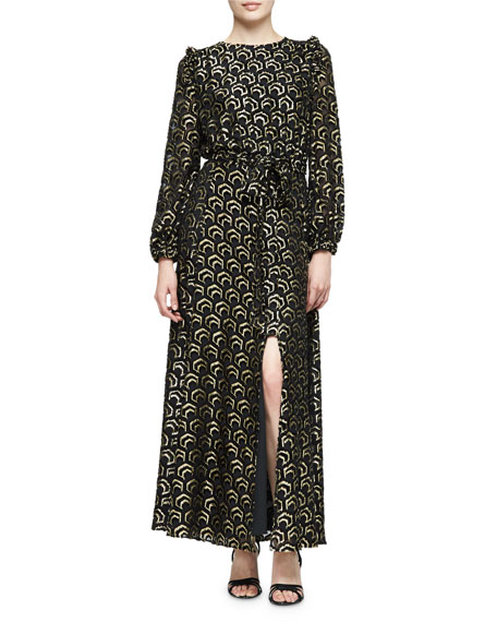 Co Long-Sleeve Metallic Gown, Black/Gold