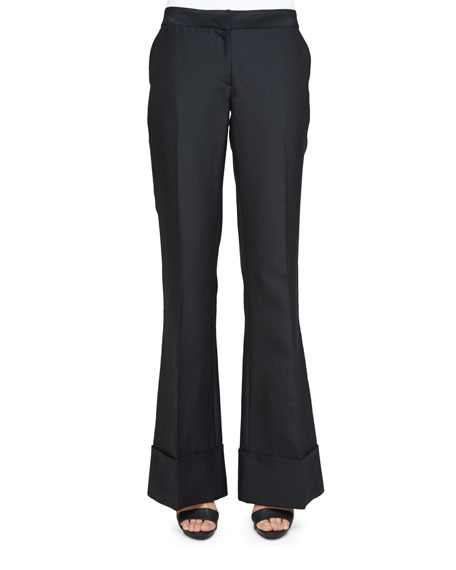 Co Low-Rise Flare-Leg Pants, Large-Buckle Leather Belt &