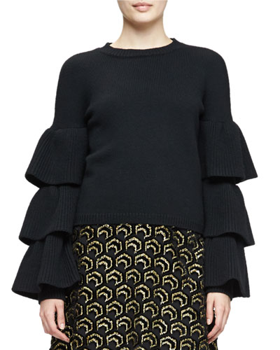 Tiered-Sleeve Knit Sweater, Black