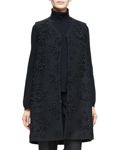 V-Neck Embellished Long Vest, Black