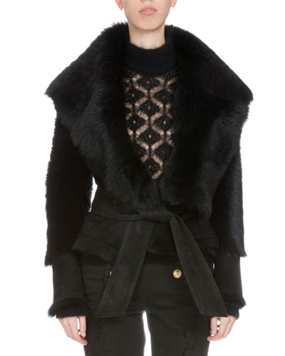 Long-Sleeve Belted Shearling Fur Vest, Black