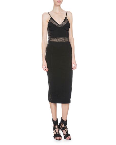 Balmain Sleeveless Lace-Inset Sheath Dress, Black