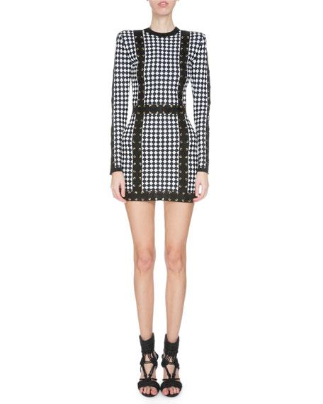 Balmain Long-Sleeve Harlequin-Print Mini Dress, Black/White