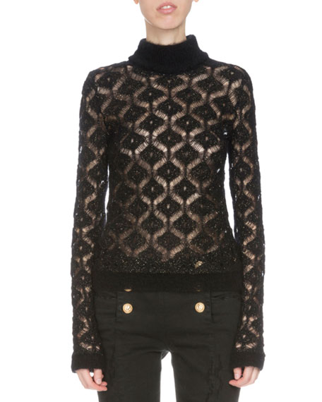 Balmain Long-Sleeve Diamond-Pattern Sweater, Black/Gold