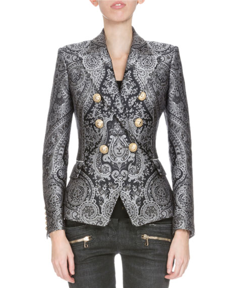 Double-Breasted Paisley Blazer, Black/Gray