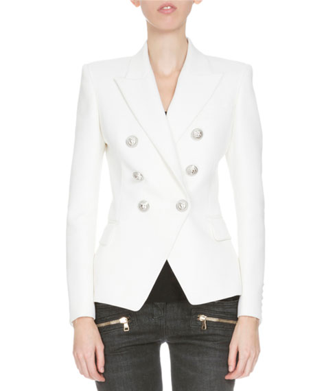 Classic Double-Breasted Blazer, White