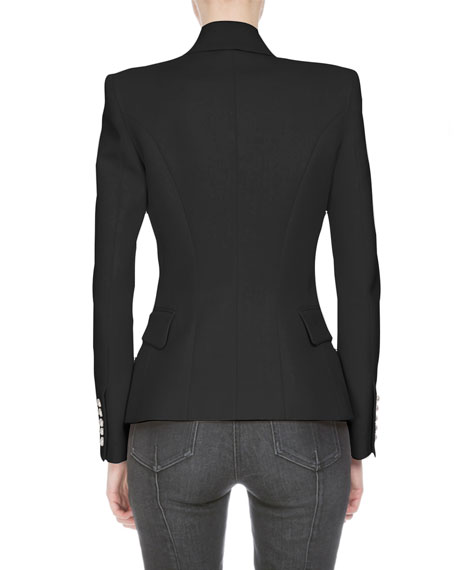 Double-Breasted Fitted Blazer, Black