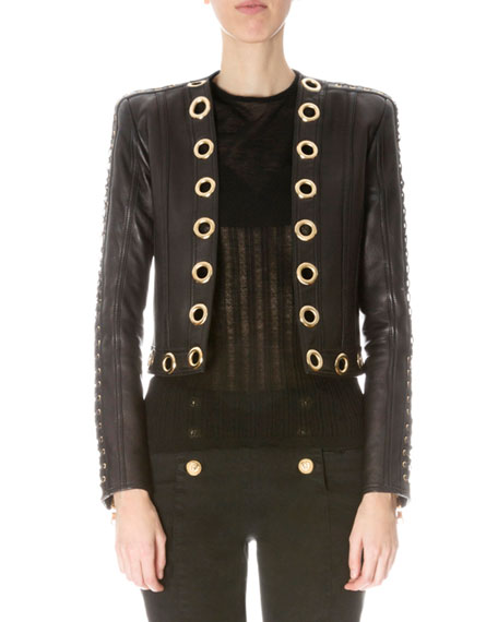 Balmain Grommet-Trim Short Leather Jacket, Black