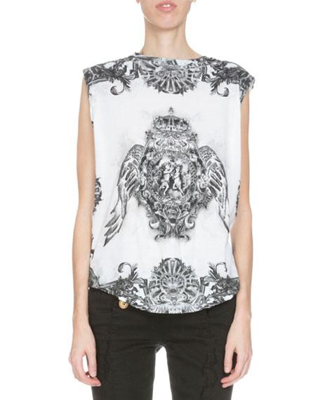 Sleeveless Printed Tee, Black/White