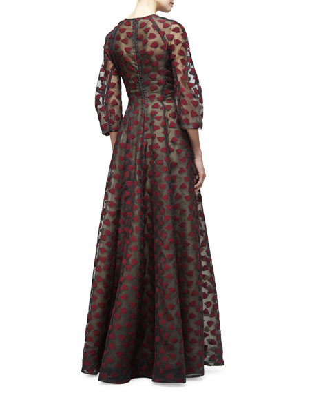 3/4-Sleeve Leaf-Embroidered Gown, Black/Crimson