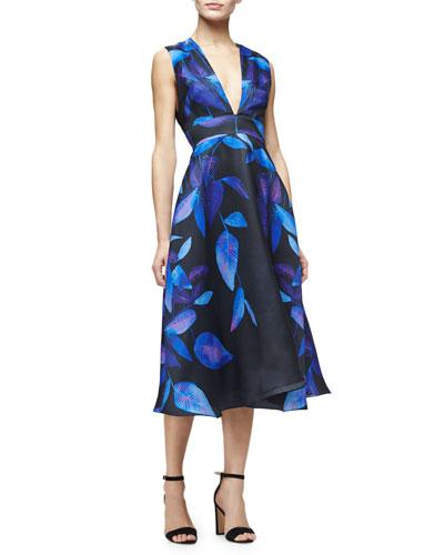 Sleeveless Leaf-Print Midi Dress, Lapis/Multi