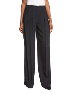 Pleated-Front Wide-Leg Trousers, Black
