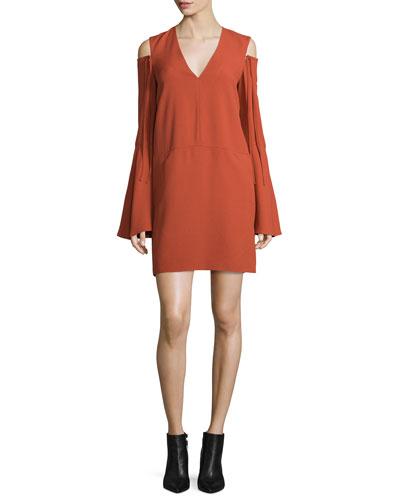 Bell-Sleeve Cold-Shoulder Dress, Pomegranate