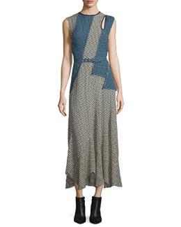 Printed Cutout Belted Maxi Dress, Chamois/Black