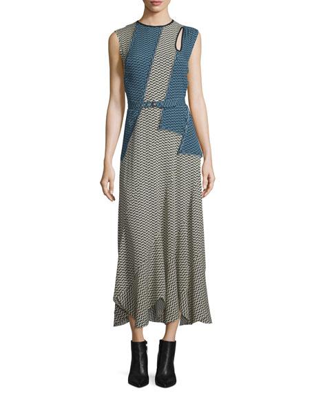 Derek Lam Printed Cutout Belted Maxi Dress, Chamois/Black