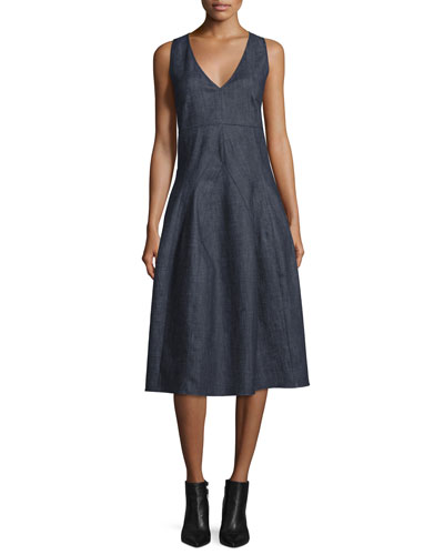 Sleeveless V-Neck Midi Dress, Indigo