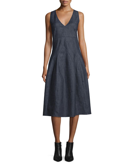 Derek Lam Sleeveless V-Neck Midi Dress, Indigo