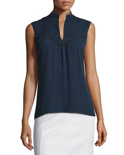 Sleeveless Pintucked Silk Blouse, Navy