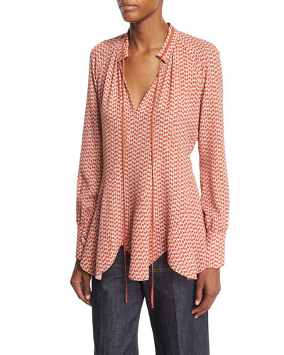 Long-Sleeve Scalloped-Hem Blouse, Pomegranate/Multi