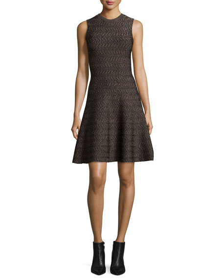 Derek Lam Sleeveless Wave-Print Fit-&-Flare Dress, Gold