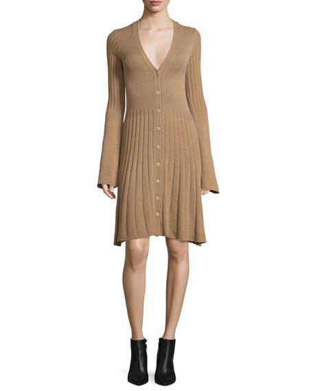 Derek Lam Bell-Sleeve Cashmere Cardigan Dress, Camel