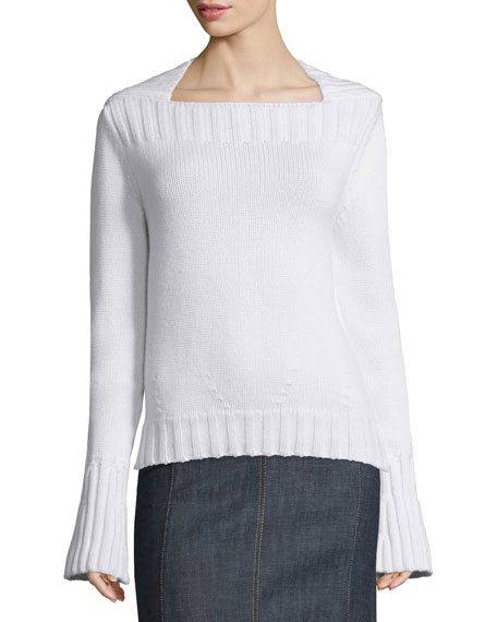 Derek Lam Long-Sleeve Envelope-Neck Pullover, Pomegranate