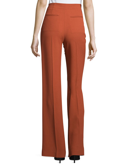 High-Waist Flare-Leg Pants, Pomegranate