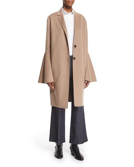 Derek Lam Wool-Blend Bell-Sleeve Coat, Camel