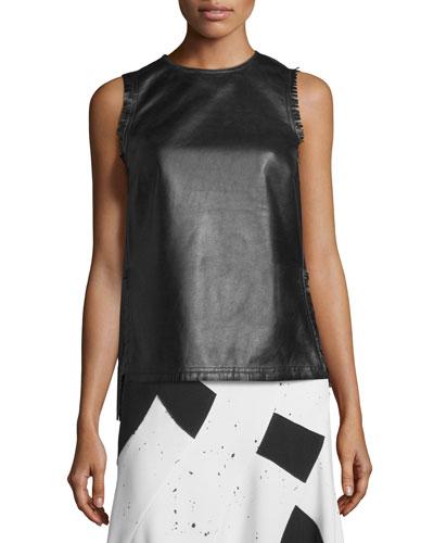 Sleeveless Fringed Leather Shell, Black