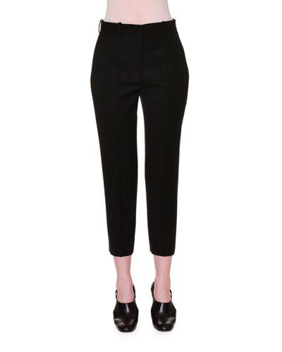 Flat-Front Slim-Fit Cropped Pants, Black
