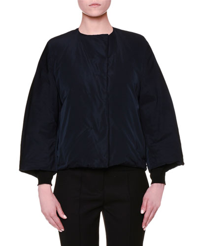 Bracelet-Sleeve Jewel-Neck Short Jacket, Navy