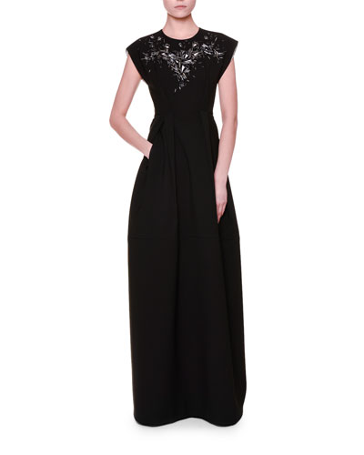 Cap-Sleeve Embellished Gown, Black