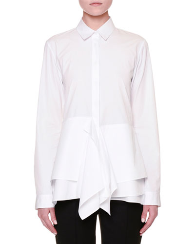 Long-Sleeve Layered-Hem Blouse, White