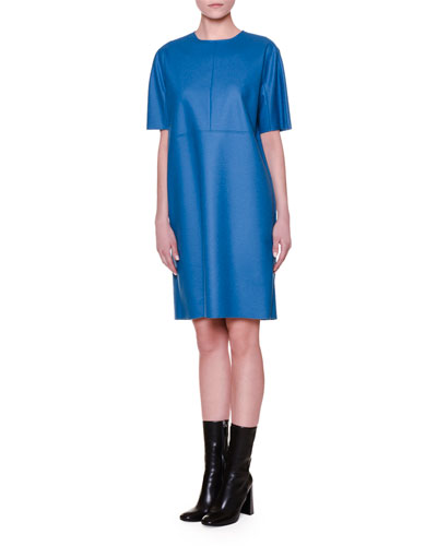 Short-Sleeve Jewel-Neck Shift Dress, Light Blue